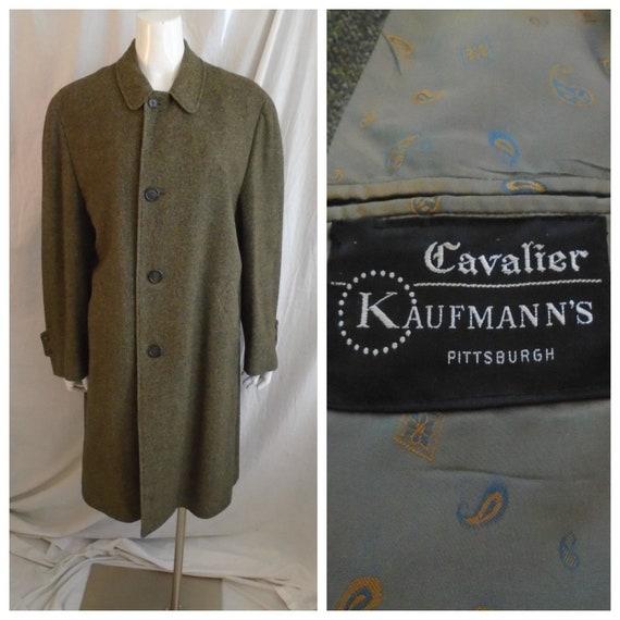 Vintage 1950s Mans Coat Tweed Wool Top Coat Over C