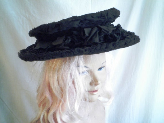 Vintage 1905 Hat Antique Edwardian Large Straw and