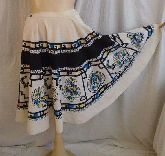 Vintage 1950s Skirt Cotton Print Circle Skirt Azte