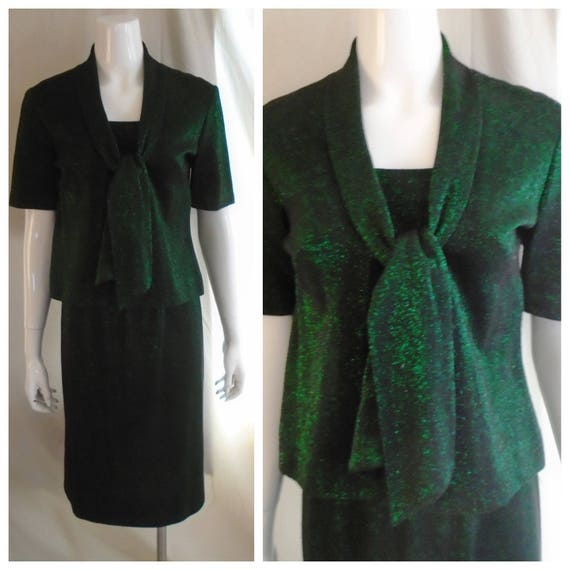 Vintage 1960s Metallic Green and Black Knit Two Pi