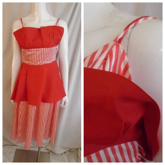 Vintage 1980s Dress Red Striped Full Skirt Party D