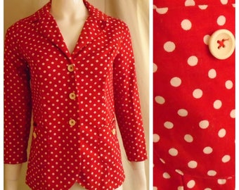 Vintage 1970s Fitted Jacket Red White Polka Dot Shrunken Fit Twill Small