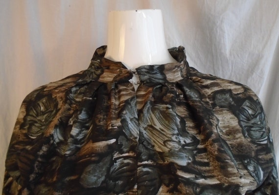 Vintage 1950s Dress Charcoal and Brown Rose Print… - image 6