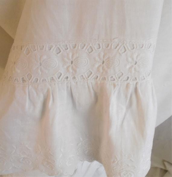 Vintage 1910s Nightgown Antique White Cotton Nigh… - image 7