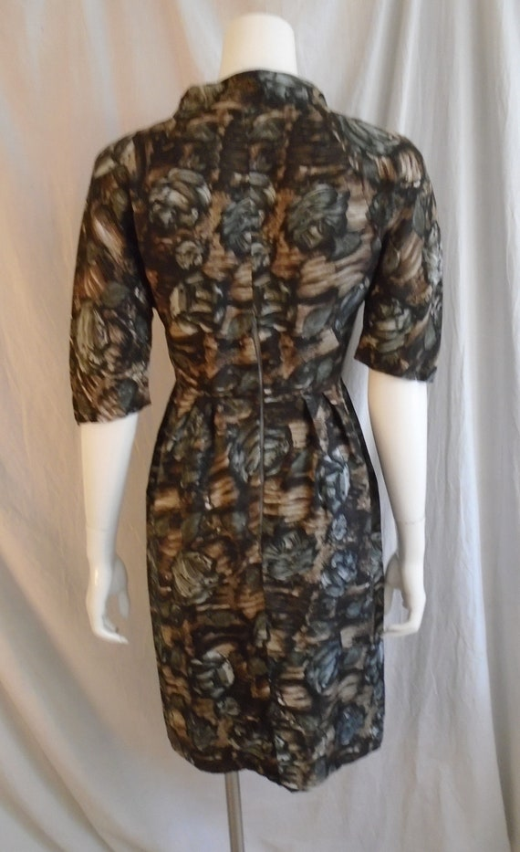 Vintage 1950s Dress Charcoal and Brown Rose Print… - image 2