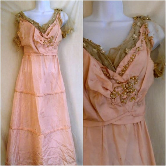 1910s Vintage Dress Pink Silk and Net Party Dress