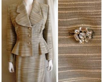 Vintage 1940s Suit Lilli Ann Designer Peplum Suit Grey and White Stripe Rhinestone Buttons