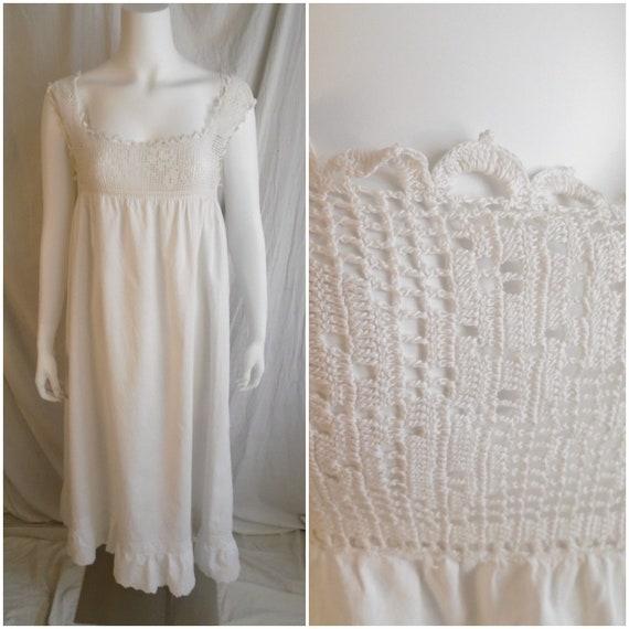 Vintage 1910s Nightgown Antique White Cotton Nigh… - image 1