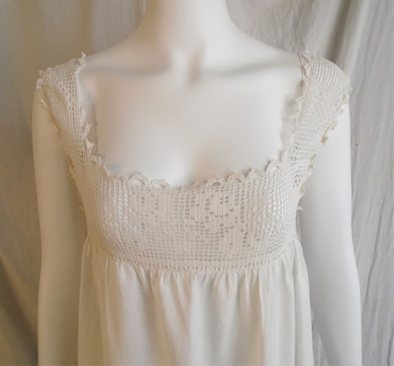 Vintage 1910s Nightgown Antique White Cotton Nigh… - image 5