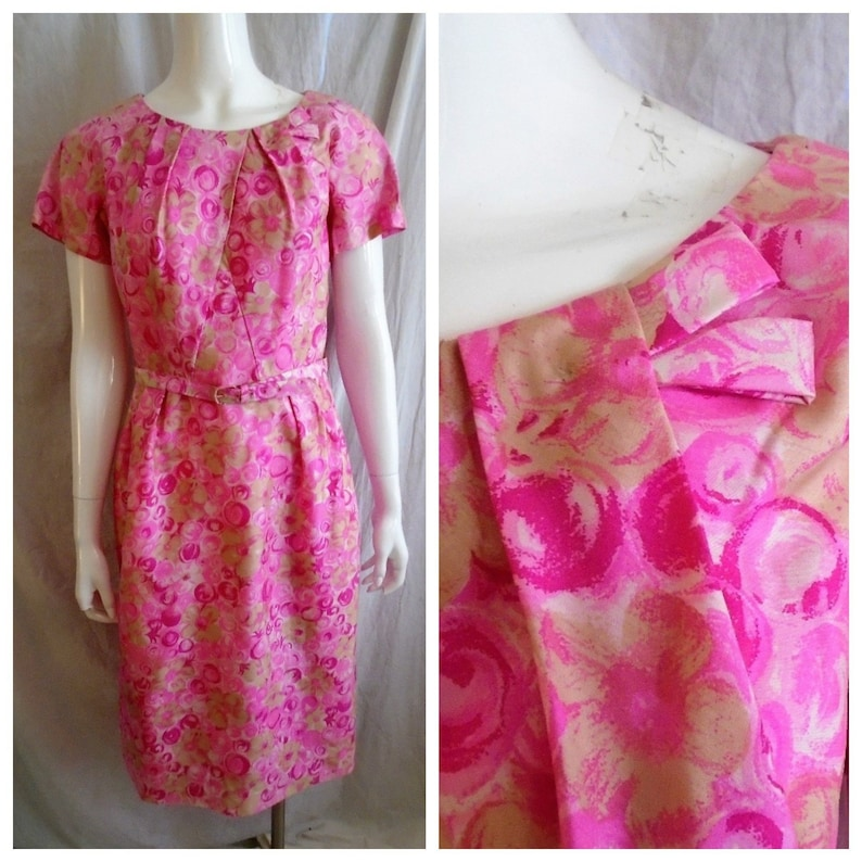 0ac4b701125 Vintage 1960s Dress Hot Pink Floral Silk Wiggle Dress Easter