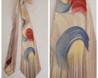 Vintage 1940s Necktie Brush Hand Painted Blue Cream Red Feathery Design