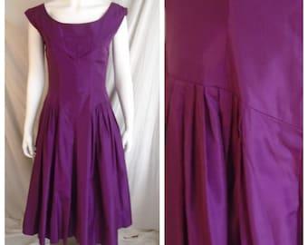 Vintage 1950s Purple Taffeta Formal Full Skirt MCM Cocktail Dress Medium