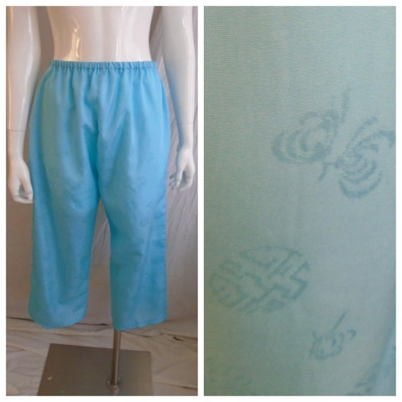 Vintage 1950s Pajamas Blue Asian Design Embossed … - image 1