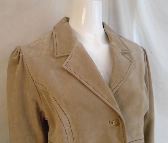 Vintage 1990s Suede Jacket Lacing Sleeves Puffed … - image 3