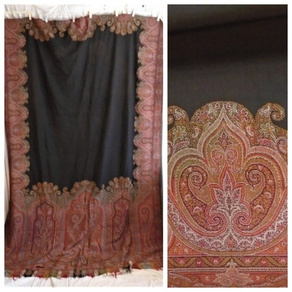 Vintage Paisley Shawl Antique 1860s Victorian Wool