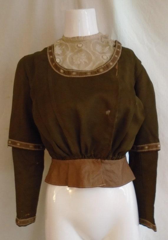 Vintage 1900s Blouse Antique Edwardian Brown Wool and Silk Fancy Boned Bodice