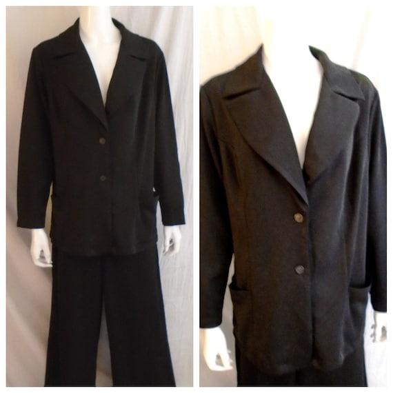 Vintage 1970s Pantsuit Women's Black Polyester Jac