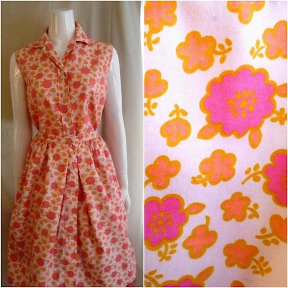Vintage 1950s Dress Two Piece Cotton Floral Button