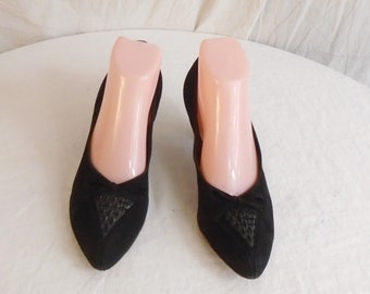Vintage 1950s Black Suede Pumps Foot Saver with Decorated Toe Size 7