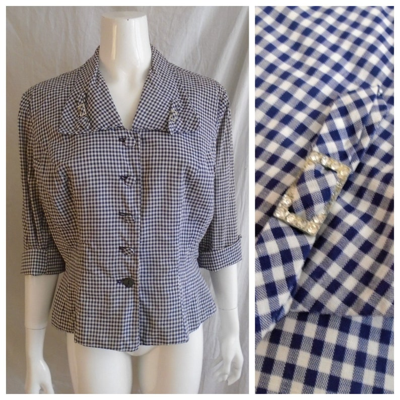Vintage 1950s Suit Jacket Blue and White Checked Print Fitted Peplum Jacket XL
