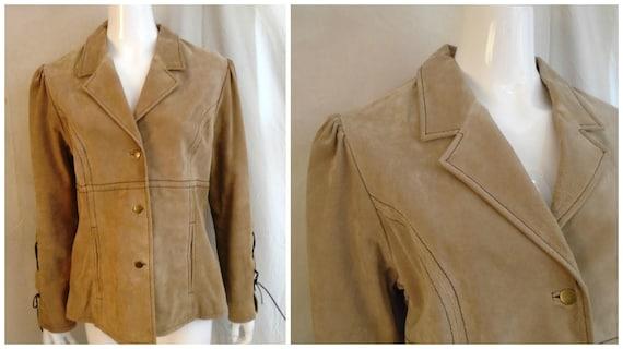 Vintage 1990s Suede Jacket Lacing Sleeves Puffed S