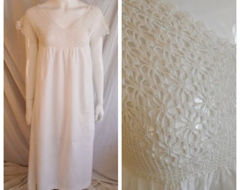 Vintage 1910s Nightgown with Crochet Top Edwardian Lingerie Chemise Medium