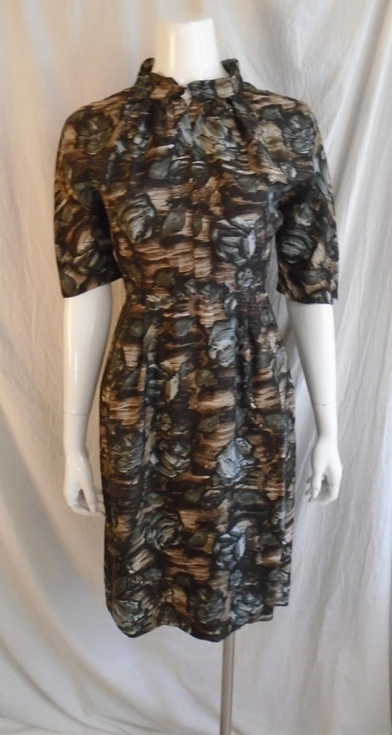 Vintage 1950s Dress Charcoal and Brown Rose Print… - image 4