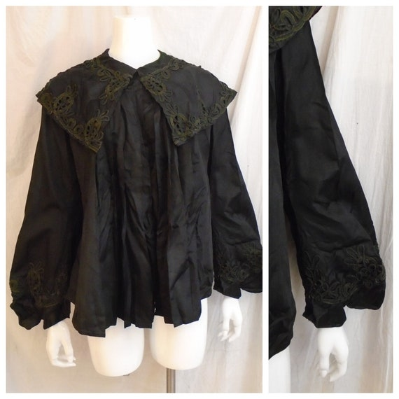Vintage Edwardian Black Silk Jacket 1900s Full Cut