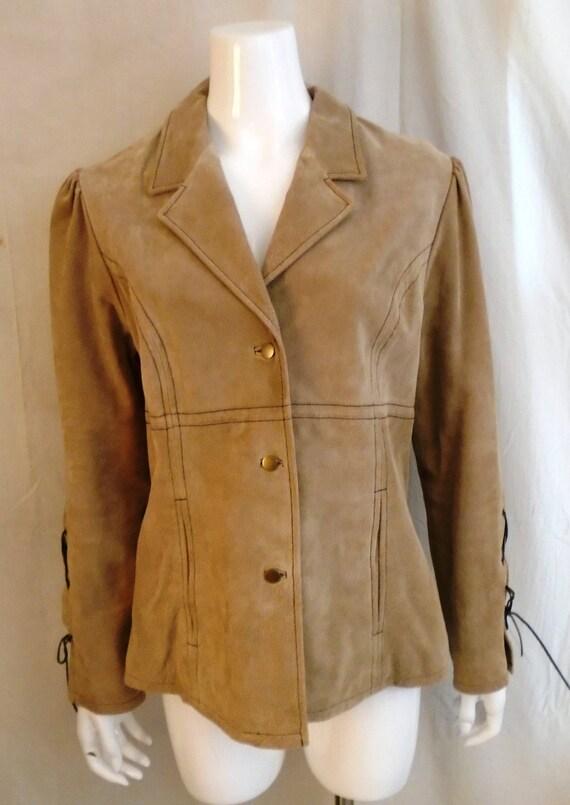 Vintage 1990s Suede Jacket Lacing Sleeves Puffed … - image 2