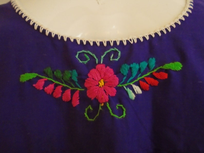 Vintage 1970s Blouse Purple Peasant Top with Multi Color Embroidery Puffed Sleeves Medium