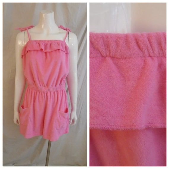 Vintage 1970s Hot Pink Romper Terrycloth Spaghetti