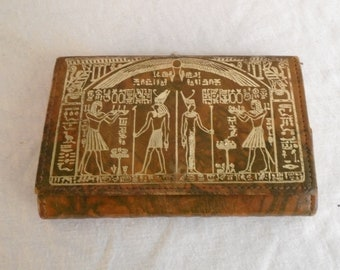 Vintage 1970s Wallet with Ancient Egypt Theme Sphinx Hieroglyphics Gold Painted Design