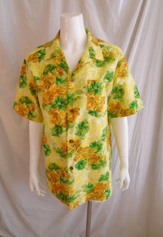Vintage 1960s Hawaiian Shirt Cotton Floral Print … - image 2