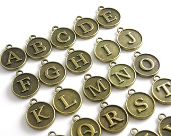 White typewriter key letter X round gold plated enamel charm pendant Typography double sided dangle