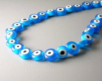 BEAD-EE-TQF-8MM - Evil Eye Blue Lampwork Bead, 8mm  - 50 pcs