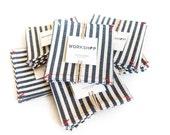Denim Coasters in a Broad Stripe - set of 4 - Workshop Collection