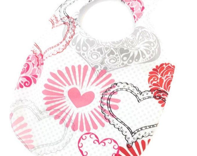 Valentine's Day Bib - Heart Bib - Baby Girl Bib - Reversible Cotton Bib