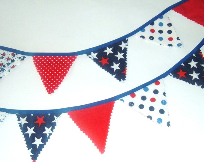 Patriotic Mini Bunting - Red White & Blue Garland-Veterans Day