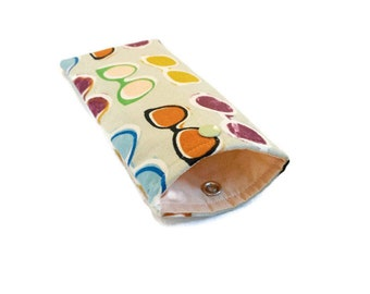 Soft Glasses Case - Eyeglass Pouch - Colorful Glasses on Light Sage Green -  Stocking Stuffer - Gift Under 20