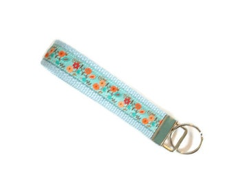1 Inch Ribbon Key Fob - Floral Keychain - Gift for Her - Gift Under 10 - Stocking Stuffer
