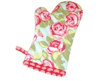 Oven MItt - Pink Roses Potholder - Floral Oven Mitt -  Gift Under 20