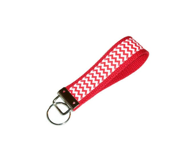 Key Fob -Stocking Stuffer- Red and White Chevron - Gift Under 10 - Teacher Gift