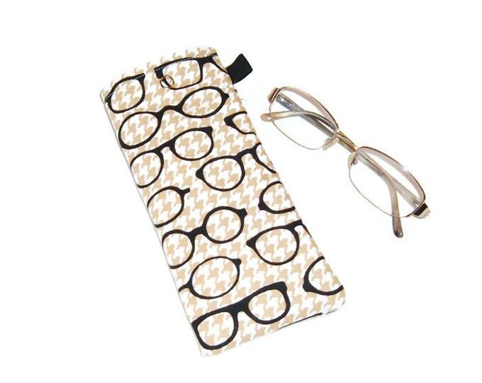 Eyeglass Case - Stocking Stuffer - Specs on Houndstooth - Gift for Grandpa-Gift for Book Lover - Gift Under 10