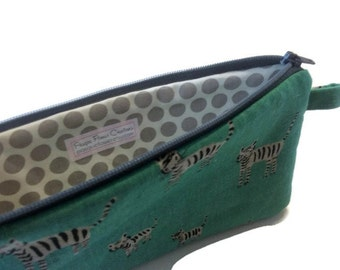 Pencil Pouch-Tigers-Green Zipper Pouch - Stocking Stuffer