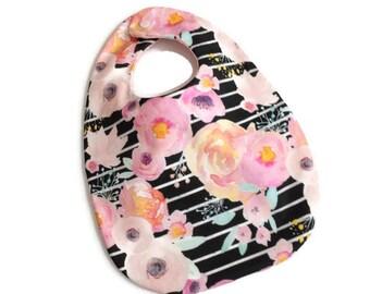 Baby Girl Bib - Pink Floral on Black Bib - Mod Baby Bib - Baby Shower Gift