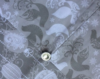 Christmas Table Runner - Gray and White - Reversible Table Topper - Doves of Peace - Holiday Decor