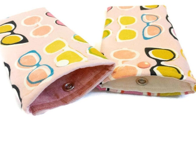 Padded Eyeglass Pouch - Retro Inspired Glasses Case - Pink Glasses Pouch - Gift Under 20 - Stocking Stuffer