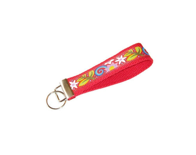 Ribbon Key Fob -Folk Art Floral on Red - Gift Under 10 -Stocking Stuffer - Teacher Gift