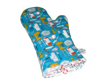 Oven Mitt - Baking Utensils on Blue - Gift for Foodie - Gift Under 25