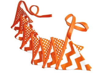 Orange and White Bunting - School Colors - Graduation Decor - Chevrons and Dots - 12 flags - 9 feet